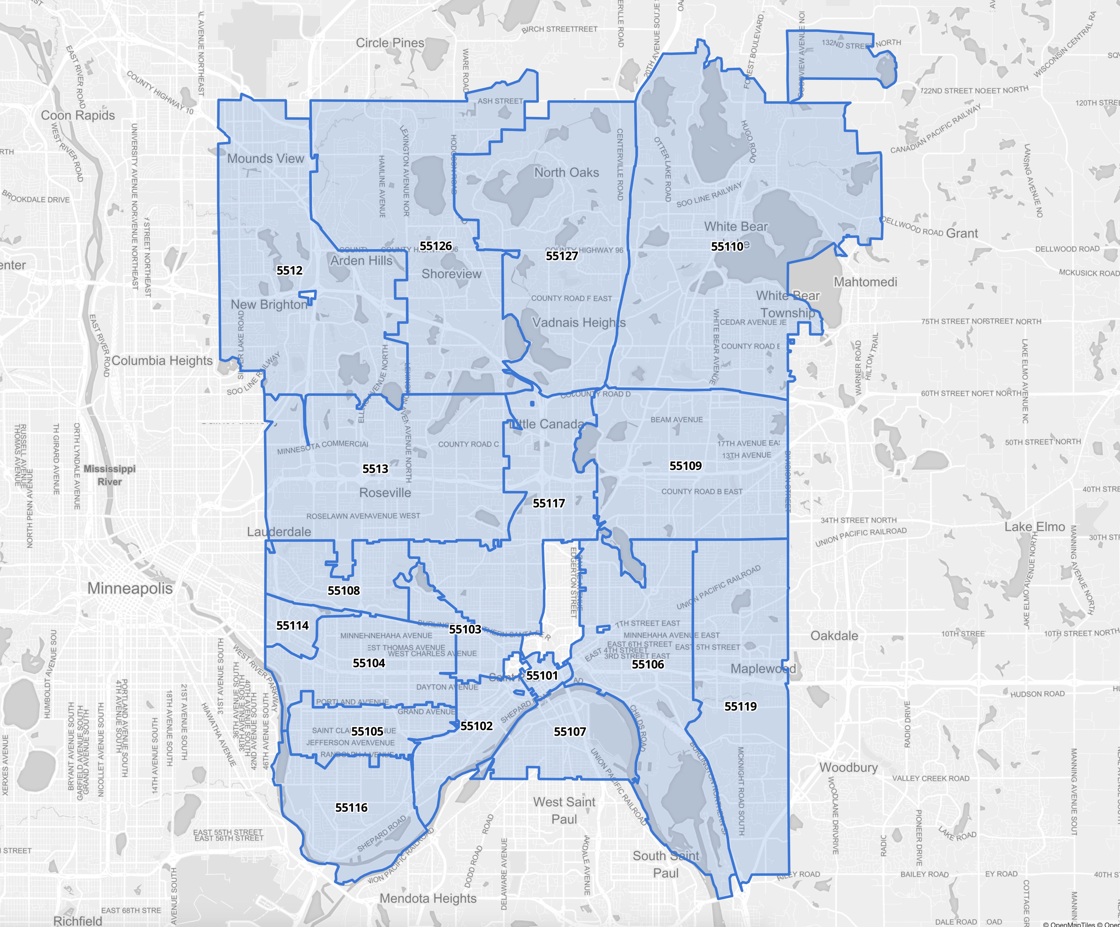 Hennepin County Zip Code Map Hennepin/Ramsey County Zip Code Map   Grumdahl Group